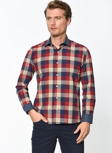 Wessi Uzun Kollu Kareli Gömlek Bordo